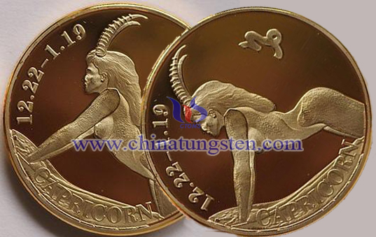 Capricorn tungsten gold-plated coin