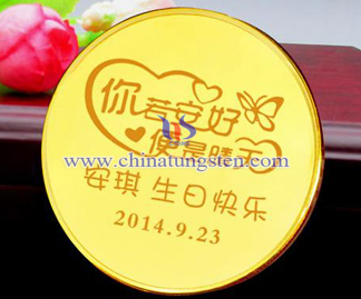 gold-plated tungsten coin for birthday party