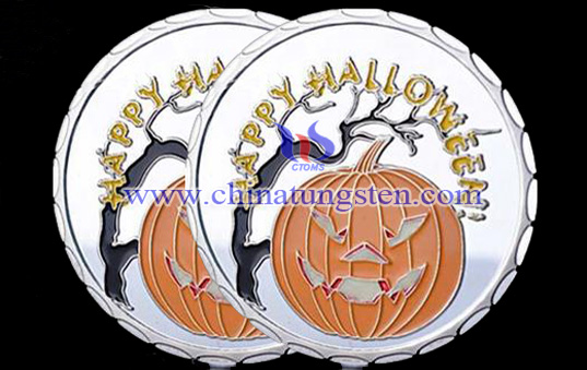 tungsten gold-plated coin for Halloween