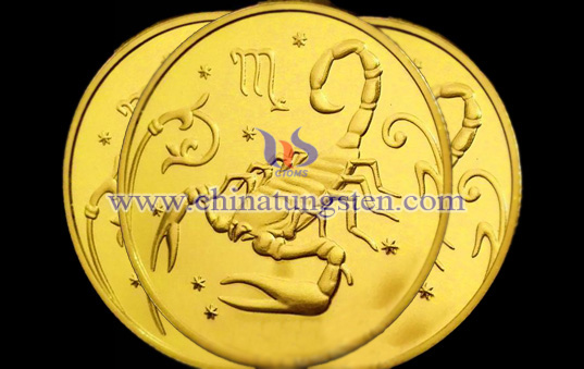 Scorpio tungsten gold-plated coin