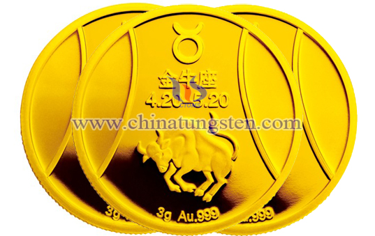 Taurus tungsten gold-plated coin