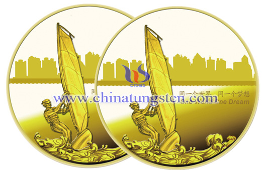 tungsten gold coin for match commemoration