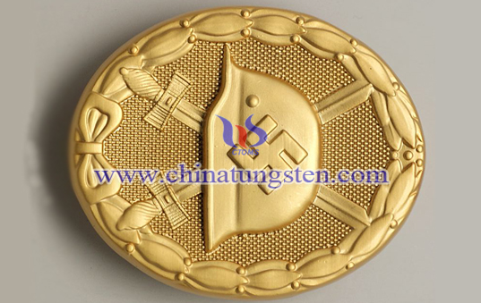 tungsten gold plated badge for club member