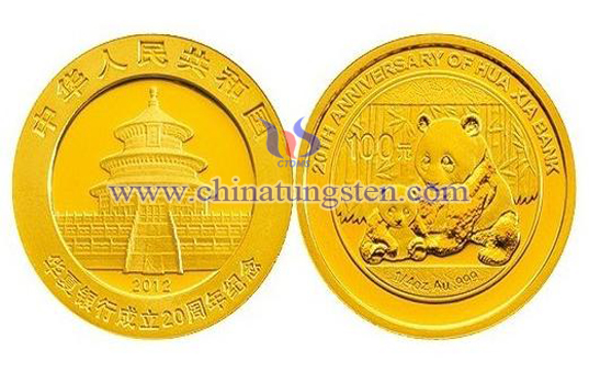 tungsten gold plated coin for bank annual meeting