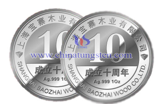 tungsten gold-plated coin for company anniversary celebration