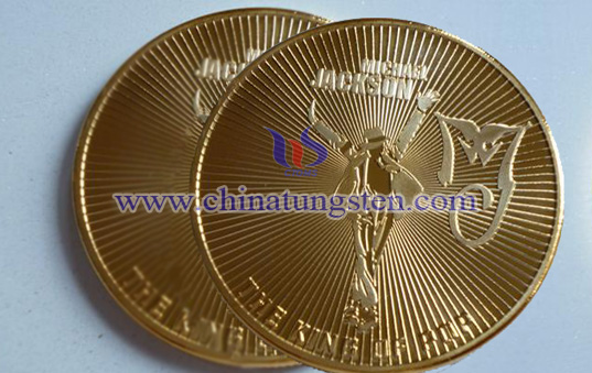 tungsten gold-plated coin for concert