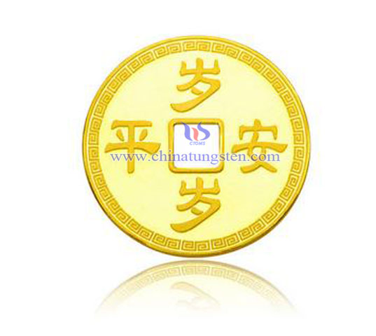tungsten gold plated coin for New Year celebration